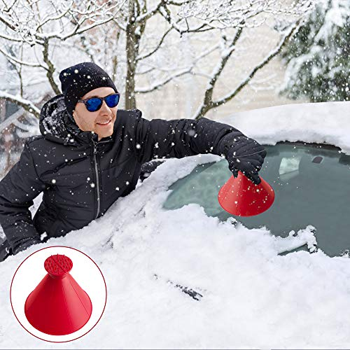 Eiskratzer Auto Rund, Eisschaber Auto, Schnee kratzen Runde Magischer Eiskratzer Scheibenkratzer Auto Kratzen-Schneeschaufel Werkzeug füR Auto Windschild (Rot, 14cm)