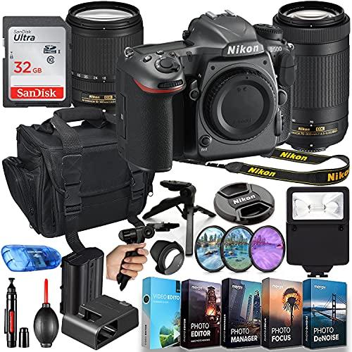 Nikon D500 DSLR Camera (Body Only) MFR #1559 with 18-140mm VR Lens & 70-300mm Lens + 32GB Memory + Slave Flash, Shoulder...