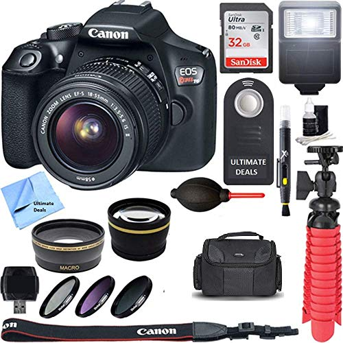 Canon EOS Rebel T6 Digital SLR Camera + EF-S 18-55mm is STM Lens Kit +Ultimate Accessory Bundle 32GB SDXC Memory + DSLR Photo Bag + Wide Angle Lens + 2X Telephoto Lens + Flash + Remote+ Tripod+More