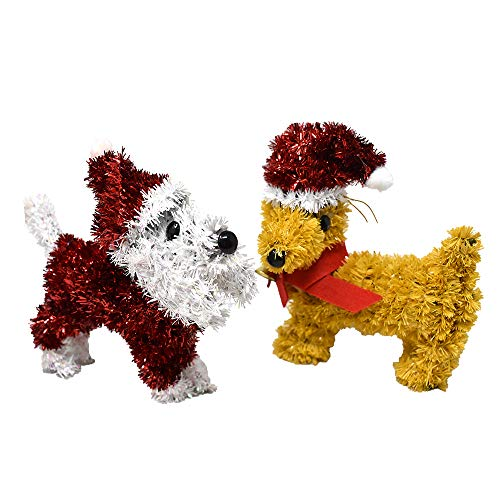 Homeford Christmas Tinsel Dogs Decorations, 6-Inch, 2-Piece