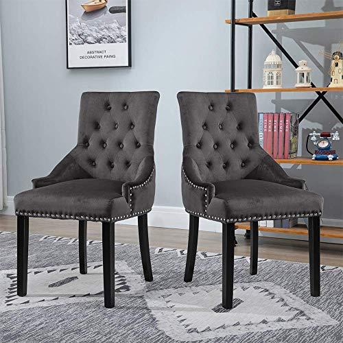 N/Z Tägliche Ausstattung Moderne anthrazitgraue Esszimmerstühle 2er-Set Stühle aus gepolstertem Holz mit schwarzem Bein Armlose Stühle aus schwarzem Holz mit Knopf für das Wohnzimmer im Wohnzimmer