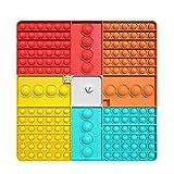 Big Pop Game Fidget Toy, Tablero De Ajedrez Arcoíris, Juguete Sensorial De Burbujas De Empuje, Juguete Interactivo Jumbo para Aliviar El Estrés, Juguetes Sensoriales para Apretar (Square-G)