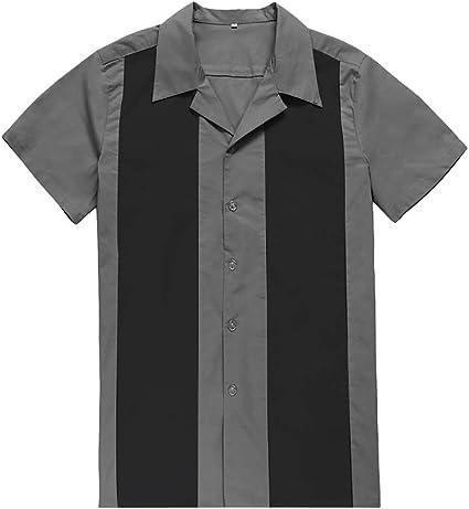 JOMSK Camisa Manga Corta Además Camisa Gris y Negro de ...