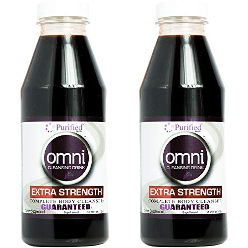 Omni Same-Day Detox Drink - Extra Strength Cleansing - Toxin Removal, Full Body Cleanse - Quick Flush Potent Deep System Cleanser - Grape Flavor 16 oz - Two Pack (32 Oz Total)