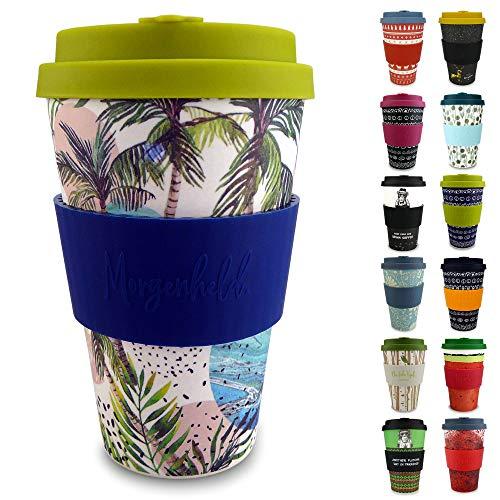 Morgenheld Dein trendiger Bambusbecher | Coffee-to-Go-Becher | Kaffeebecher mit Silikondeckel und Banderole in coolem Design 400 ml Füllmenge (Wave)