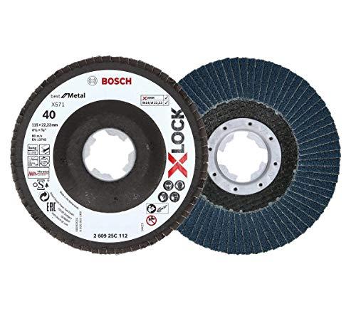2 x Bosch Professional Lamellenschuurschijf (X-LOCK, Ø: 115 mm, korrelgrootte K40, Bohrung Ø 22,23 mm, schuin, accessoire haakse slijper)