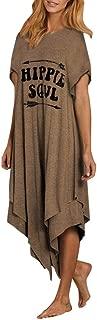 Womens Hippie Soul T-Shirt Dress Comfy Hot Fashion Short Sleeve Swing Tunic Shift Dress with Double Layer Asymmetry Hem