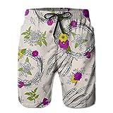 SKIJJINM Men's Swim Trunks Dream Catcher with Red Flower Beige Surfing Beach Board Shorts Swimwear XL