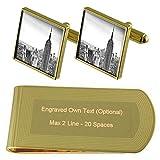 Select Gifts El Empire State de Nueva York Skyline Tono Oro Gemelos Money Clip Grabado Set de Regalo