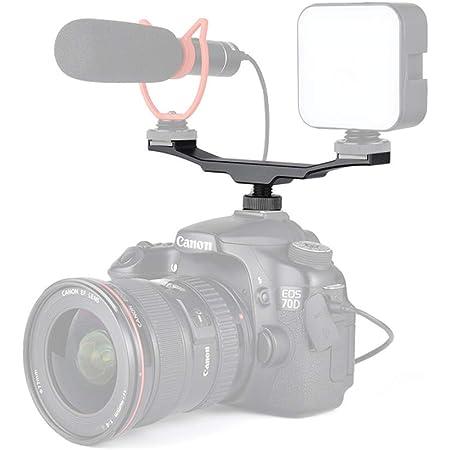 Double Hot Shoe Mount Extension Bar Dual Flash Bracket Holder Fr DSLR Camera Mic