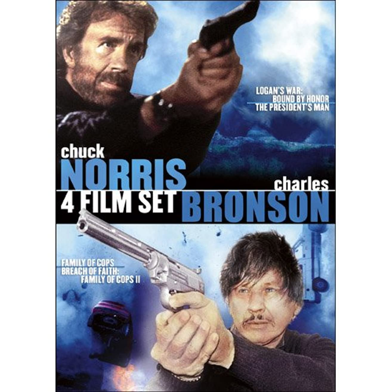 Charles Bronson & Chuck Norris 4 Film Set: Logan's War: Bound By Honor / The President's Man / Family of Cops / Breach of Faith: A Family of Cops II
