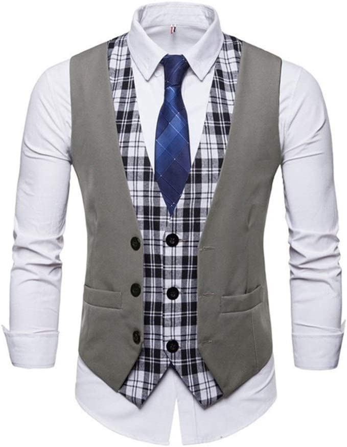 QWERBAM Mens Plaid Patchwork Blazer V-Neck Vests Challenge Ranking TOP5 the lowest price of Japan ☆ Single Breasted