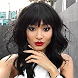 Black Bob Wig with Bangs Synthetic Wavy Wig Heat Resistant Short Wigs for Black Women 16 Inches