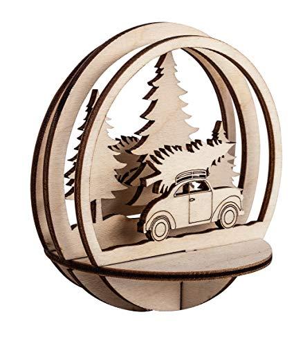 Rayher 62885505 Holz-Steckteile Auto mit Tannenbaum, 9,5 cm ø, natur, Set 5teilig, Holzbausatz gelasert, FSC zertifiziert, Weihnachtsdekoration