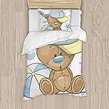Dachangtui Baby Shower Greeting Card with Cute Cartoon Teddy Bear Boy Juego de Cama de poliéster, Juego de 3 Piezas, Funda nórdica Suave, Tela de algodón a Juego, Juego de Dos Camas Individuales,