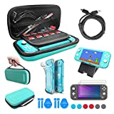 Le kit d'accessoires pour Nintendo Switch Lite,12 in 1 Switch Lite Accessoire Pack Coque Comfort Grip Case, Housse de Protection, Câble USB,Protecteurs d'écran en Verre Trempé