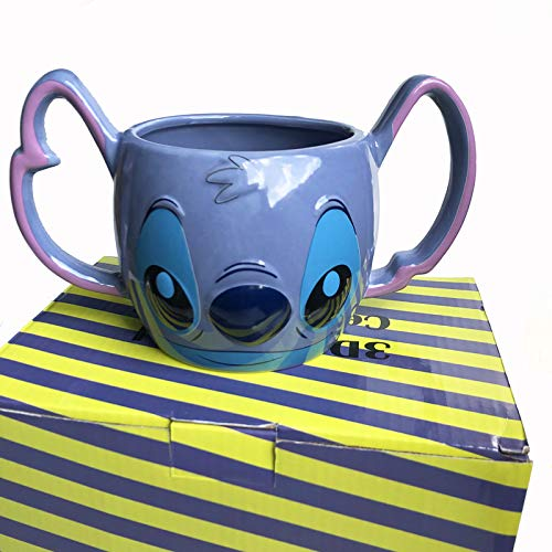 Cartoon 3D Three-Dimensional Stitch Coffee Cup Breakfast Milk Stitch Double Handle Ceramic Mug Binaural Cup Couple Children Gift