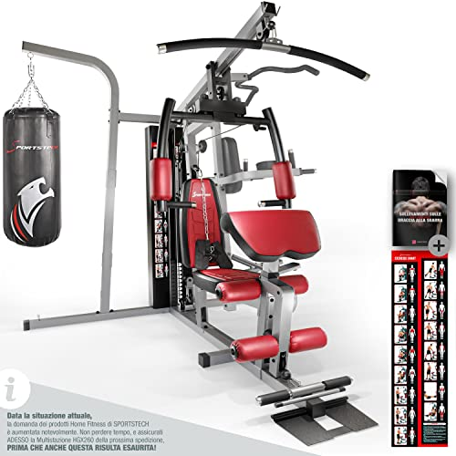 Sportstech 50in1 Premium Multistazione per UN Allenamento Completo | Palestra Multifunzionale con Stepper e Torre di trazione LAT | HGX in Materiale Eva |robusto a casa & boxe