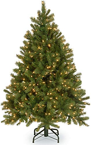 National Tree Company 'Feel Real' Pre-lit Artificial Christmas Tree | Includes Pre-strung White Lights and Stand | Downswept Douglas Fir - 4.5 ft