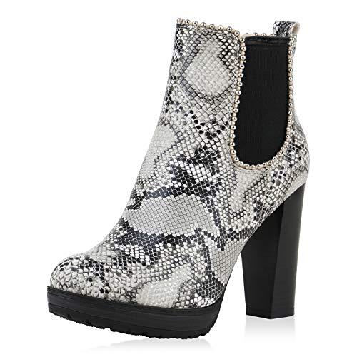SCARPE VITA Damen Stiefeletten Chelsea Boots Blockabsatz Schuhe Leicht Gefütterte High Heels Booties Leder-Optik 184732 Schwarz Weiss Snake 36