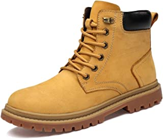 Sunny&Baby Casual Ankle Boot for Men Work Boot Lace up Genuine Leather Contrast Collar Round Toe Stitching Non-Slip (Fleece Lined Optional) Durable (Color : Yellow, Size : 6.5 UK)