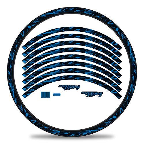 Finest Folia Juego de 16 adhesivos para llantas de bicicleta diseño de future juego completo para bicicletas de 27 a 29 pulgadas (azul neon, brillante)