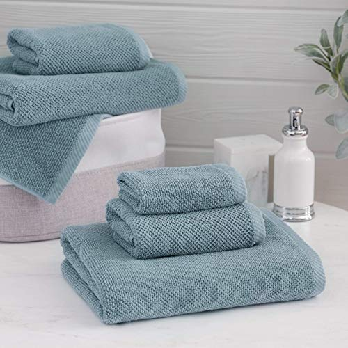 Welhome Franklin 100% Cotton Textured Towel (Dusty Blue) - Set of 6 - Highly Absorbent - Combed Cotton - Durable - Low Lint - 600 GSM - Machine Washable : 2 Bath Towels - 2 Hand Towels - 2 Wash Towels