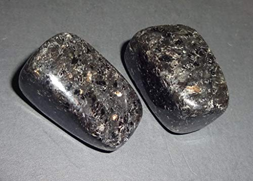 ( Sublime Gifts ) Nuummite Natural Healing Crystal Gemstones Collectible, Tumbled & Polished Display or Wrapping Stone (Nuummite) 2pc Set