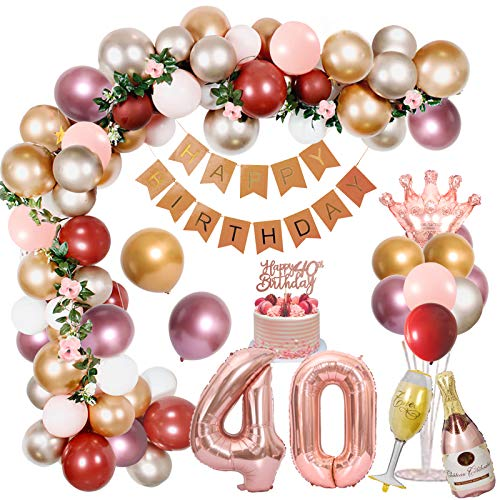 Decoración de 40 cumpleaños para mujer, globos metálicos de color rosa dorado y plateado con pancarta de feliz cumpleaños, globos rojos de granada, globos de papel de aluminio, decoración para tarta