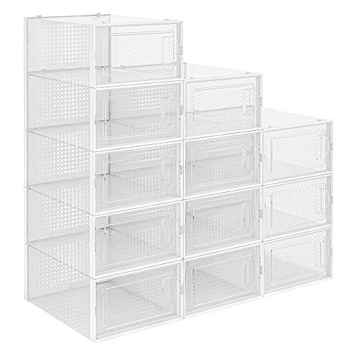QualiapeX Shoe Storage Boxes, Clear Plastic Stackable Shoe Organizer, Foldable Storage Bins Shoe Container Box, 12 Pack - White
