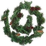 BELLE VOUS Girlande Weihnachten 180cm - Tannengirlande Künstlich mit 12 Tannenzapfen – Weihnachtsgirlande Treppengirlande Weihnachtsdeko für Kamin, Treppe, Geländer, Außen, Innen, Party Dekoration