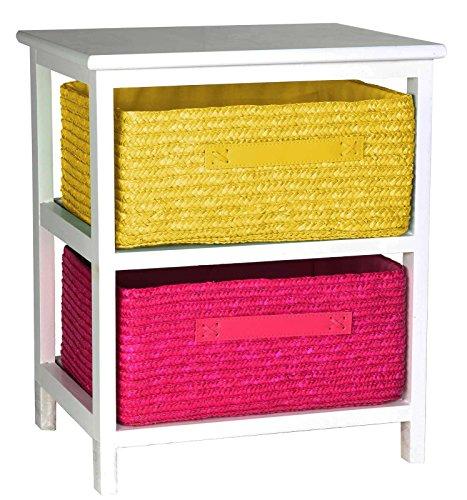 artra design GmbH commode bijzettafel nachtkastje hout wit gelakt 2S met twee rotan manden voor kinderkamer badkamer hal kantoor en babykamer roze geel, 40x30x48h