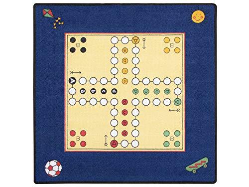 XXL Mensch Ärgere Dich Nicht Spielteppich - 92 x 92 cm, Kinderteppich Gesellschaftsspiel-Teppich mit Spielfiguren