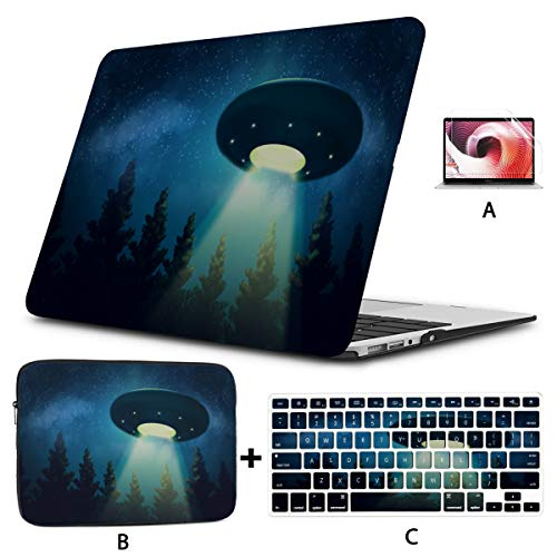 Cover for Laptop UFO Spacecraft Hovering On Tree MacBook Cover Hard Shell Mac Air 11'/13' Pro 13'/15'/16' with Notebook Sleeve Bag for MacBook 2008-2020 Version