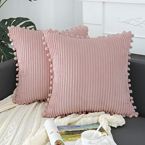 sykting Blush Pink Pillow Covers 20x20 inch Soft Striped Boho Farmhouse Decorative Throw Pillow Covers with Pom Poms for Couch Sofa Bed Chair Outdoor Pack of 2