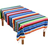 Fowecelt Mexican Serape Blanket Tablecloth 59 x 84 Inch for Mexican Wedding Party Decorations Outdoor Picnics Dining Table, Large Square Fringe Cotton Table Cloth