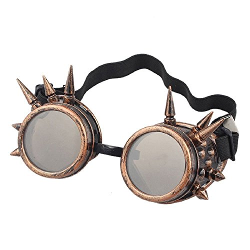 eoocvt Spiked Retro Vintage Victorian Steampunk Goggles Glasses Welding Cyber Punk Gothic Cosplay Sunglasse (Copper)