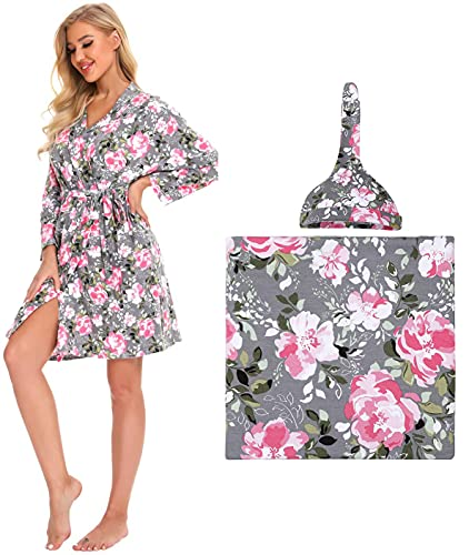 Maternity Robe and Matching Baby Swaddle Blanket Set, Large Size Stretchy Knitted Floral Nursing Nightgown Robe Matching Receiving Blanket, Grey, L (3 Pieces)