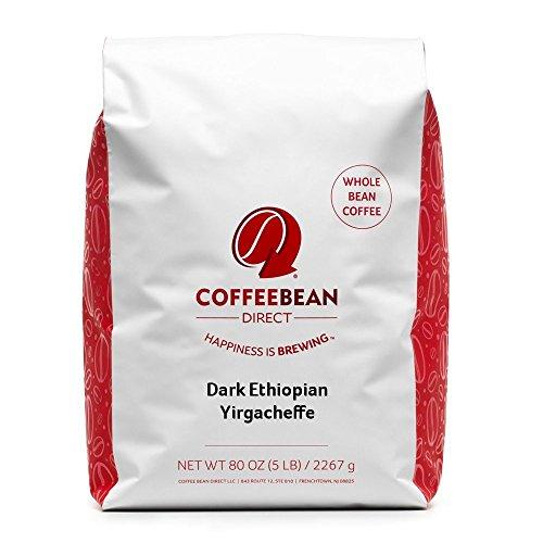 Coffee Bean Dark Ethiopian Yirgacheffe, Whole Bean Coffee, 5-Pound Bag