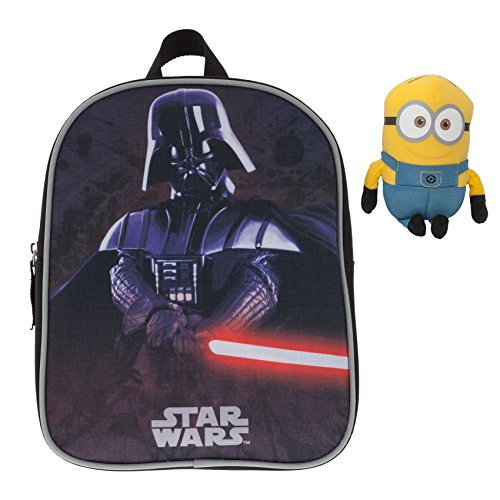 Fabrizio Kinderrucksack Kindergartenrucksack Star Wars/Disney Cars Yoda Darth Vader + Minion Figur 15 cm (Star Wars Darth Vader 9001)