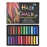 OFNMY Tiza para Pelo de 24 Colores Temporales para el Cabello, coloraciones para el cabello, colores profesionales y cerosos, para carnaval, fiesta, Navidad, cumpleaños de Halloween