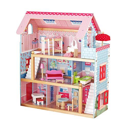 Infantastic Casa delle Bambole in Legno - 76x30x82cm, 3 Livelli di Gioco, 16 Accessori e Mobili Inclusi, 5 Stanze, per Bambole di 13 cm - Casetta per Bambole Miniatura