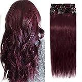Extension a Clip Cheveux Naturel Rajout Vrai 100% Cheveux Humain Lisse - 8 Bandes pour Cheveux Fin (#99J VIN ROUGE, 40cm-65g)