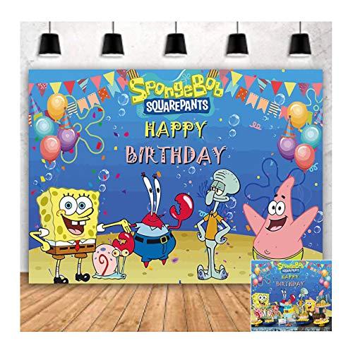 Cartoon Animation Blue Sea Bottom Spongebob Happy Birthday Theme Photography Backdrops 5x3ft Children Boys or Girl 1st Birthday Party Photo Background Newborn Baby Shower Candy Cake Table Decor Vinyl