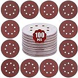 GALAX PRO Fogli Abrasivi, 100pezzi Dischi Abrasivi per Levigatrice Eccentrica, 8Fori 10x60/80/100/120/150/180/240/320/400/600 Graniglie (Ø125 mm) per Levigatura, Lucidatura