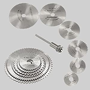 Elenxs 7pcs Mini HSS acero de alta velocidad sierra de disco circular de la rueda de cuchillas de corte Taladros Mandriles Herramientas rotativas Negro