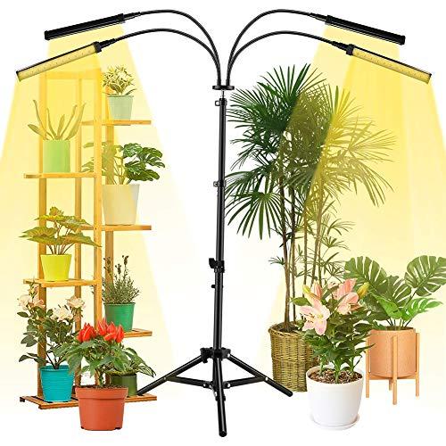 WRQ LED Grow Light for Indoor Plants, Full Spectrum Floor Plant Light for Seedling Blooming,Adjustable Gooseneck & Timer Setting 4H/8H/12H,3 Color Modes