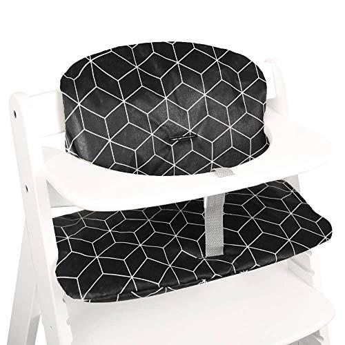 Cojín de asiento Hauck Alpha en Hauck Beta de 2 piezas de UKJE para trona revestido, acolchado grueso negro, geométrico, lavable a máquina