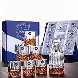 BELLE FILLE Scotch Gläser Set – Dekanter für Spirituosen in Premium-Qualität mit 6 Scotch-Gläsern für Bourbon oder Whisky – 7 Stück