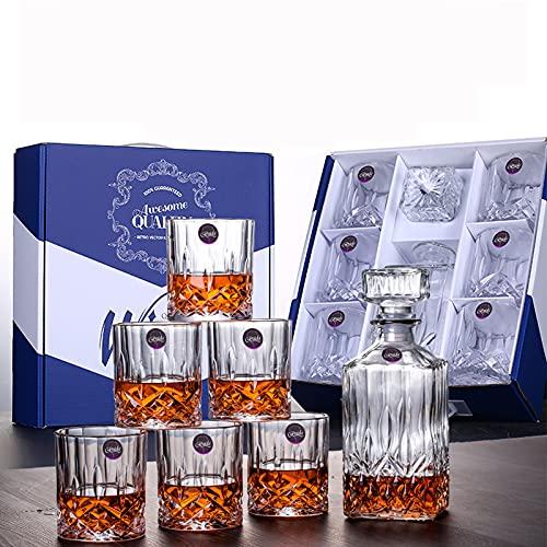 BELLE FILLE Bicchieri Scotch Set - Decanter Per Liquori Di Qualità Premium Con 6 Bicchieri Di Scotch Per Bourbon o Whisky - 7 Pezzi